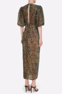 Laria PR2123 Green Flocked Leopard Velvet Devore Draped Dress with Knotted Waist Detail