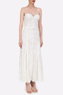 Carina PR2114 & Nika PR2115 White Corded Lace Bustier and skirt