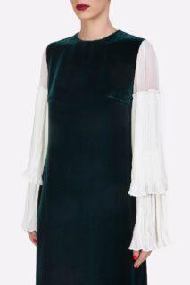 Denissa PR2144 Green Velvet Shift Dress with Crinkled Silk Chiffon Bell Sleeves