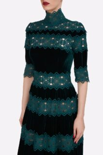 Lissie PR2142 Silk Velvet Gown with Guipure Lace Trims