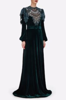 Ashley PR2140 Green Silk Velvet Gown with Embroidered Lace Appliques