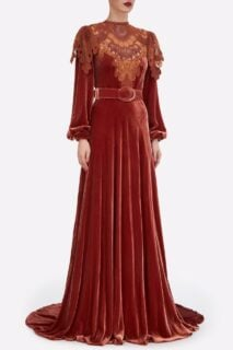 Ashley PR2140 Red Orange Silk Velvet Gown with Embroidered Lace Appliques