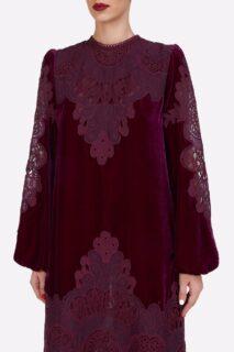Samantha PR2141 Burgundy Silk Velvet Midi Dress with Embroidered Lace Appliques