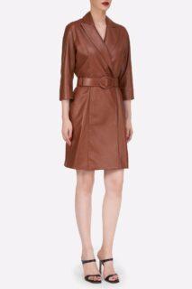 Kessa PR2155 Camel Soft Lamb-Skin Leather Blazer Dress