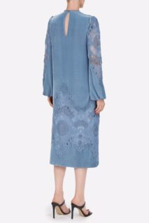 Samantha PR2141Blue Silk Velvet Midi Dress with Embroidered Lace Appliques