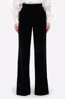 Juleen PR2147 Cotton Velvet Wide Leg Pants with Side Grosgrain Ribbon Detail