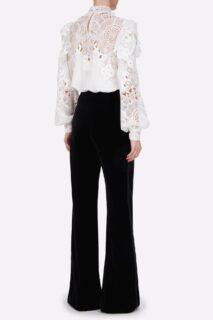 Jessa PR2149 White Silk Crepe De Chine Blouse with Embroidered Organza Appliques