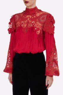 Jessa PR2149 Red Silk Crepe De Chine Blouse with Embroidered Organza Appliques