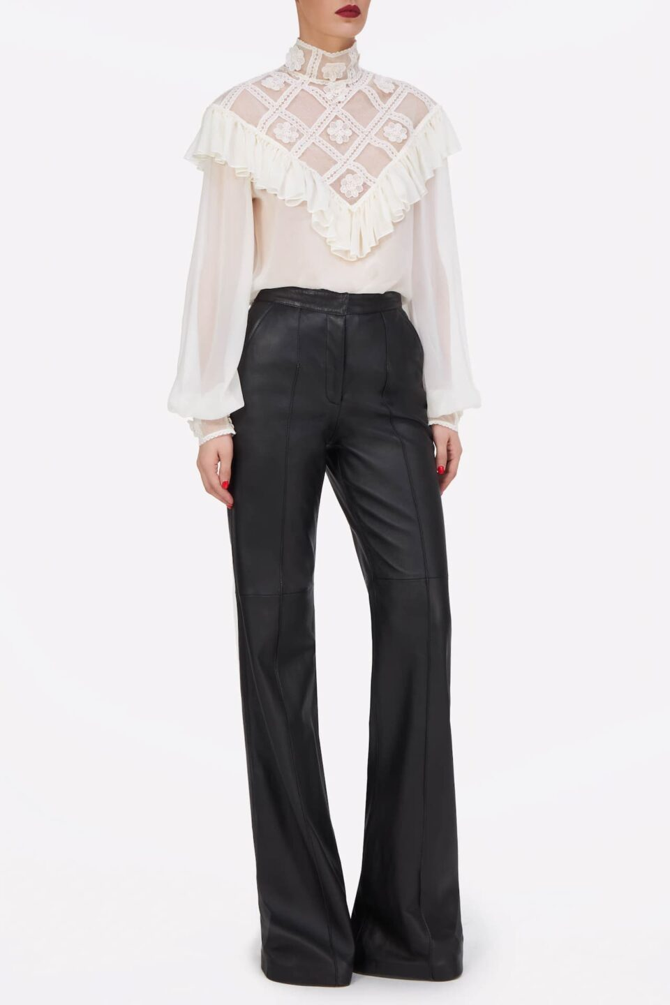 Elsie PR2162 Silk Chiffon Blouse with Ruffled Illusion Neckline & Embroidered Details || Denie PR2151 Soft Lamb-SkinLeather Tailored Straight-Leg Pants with Pintuck Seams