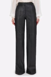 Denie PR2151 Soft Lamb-SkinLeather Tailored Straight-Leg Pants with Pintuck Seams