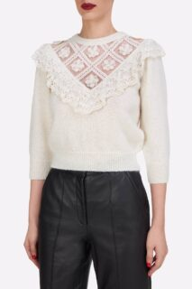 Julia PR2180 White Sustainable Mohair Illusion-Neckline Knit Sweater with Embroidery & Ruffle Detail
