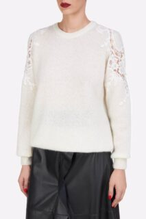 Mattie PR2181 White Sustainable Mohair Knit Sweater With Corded Lace Shoulder Detail