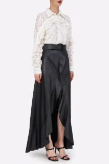 Kanna PR2116 White Corded Lace Collared ButtondownBlouse with Ruffle Detail || Selissa PR2153 Black Soft Lamb-Skin Leather Wrap Skirt with Ruffled Edge