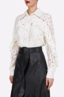 Kanna PR2116 White Corded Lace Collared ButtondownBlouse with Ruffle Detail    Selissa PR2153 Black Soft Lamb-Skin Leather Wrap Skirt with Ruffled Edge