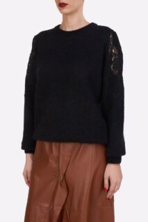 Mattie PR2181 Black Sustainable Mohair Knit Sweater With Corded Lace Shoulder Detail
