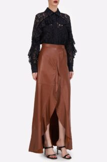 Kanna PR2116 Black Corded Lace Collared ButtondownBlouse with Ruffle Detail || Selissa PR2153 Camel Leather Faux-Wrap Skirt