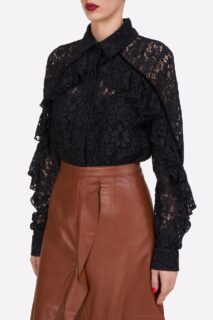 Kanna PR2116 Black Corded Lace Collared ButtondownBlouse with Ruffle Detail