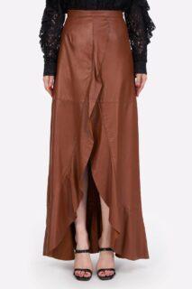 Selissa PR2153 Camel Leather Faux-Wrap Skirt