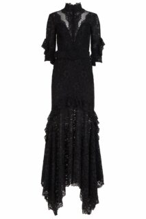 Darrie PR2110 Black Corded Lace Dress with Illusion Cut-Outs & Coordinating Belt