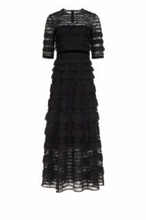 Maxine PR2175 Black Chantilly Lace Dress with Silk Chiffon Ruffles & Inner Mini Dress