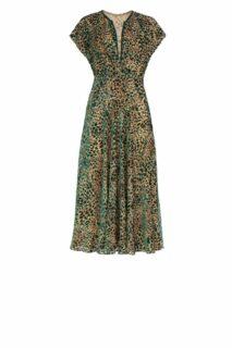 Sasha PR2121 Green Flocked Leopard Velvet Devore Dress with Flutter Sleeves