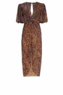 Laria PR2123 Blue Flocked Leopard Velvet Devore Draped Dress with Knotted Waist Detail