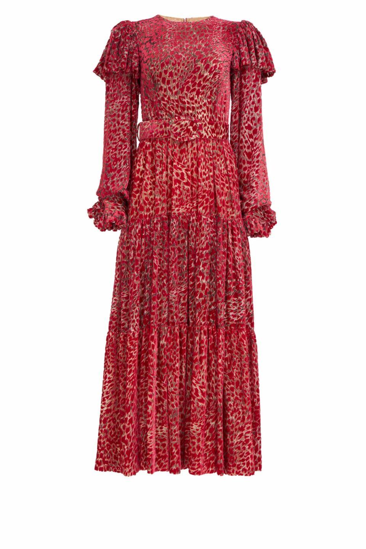 Anisa PR2122 Red Flocked Leopard Velvet Devore Dress with Puff Sleeves & Coordinating Belt