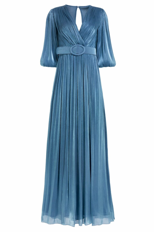 Mira PR2131 Dusty Blue Iridescent Lurex Georgette Draped Gown with Side Slit & Coordinating Belt