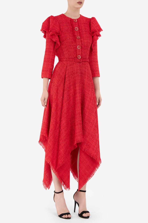 Emilia FW2115 Red Tweed Frayed-Edge Handkerchief Dress with Ruffle Shoulders, Lurex Detail & Coordinating Belt