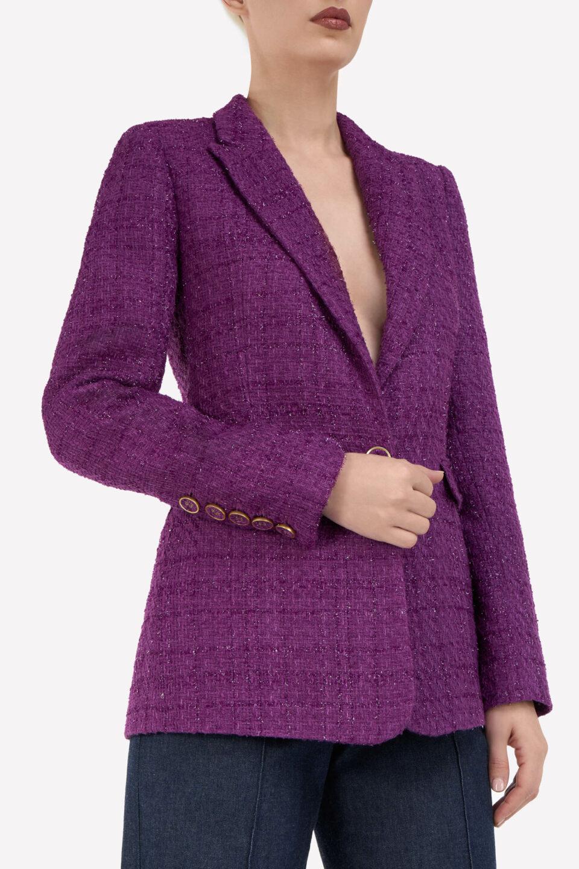 Emilia FW2116 Purple Tailored Tweed Blazer