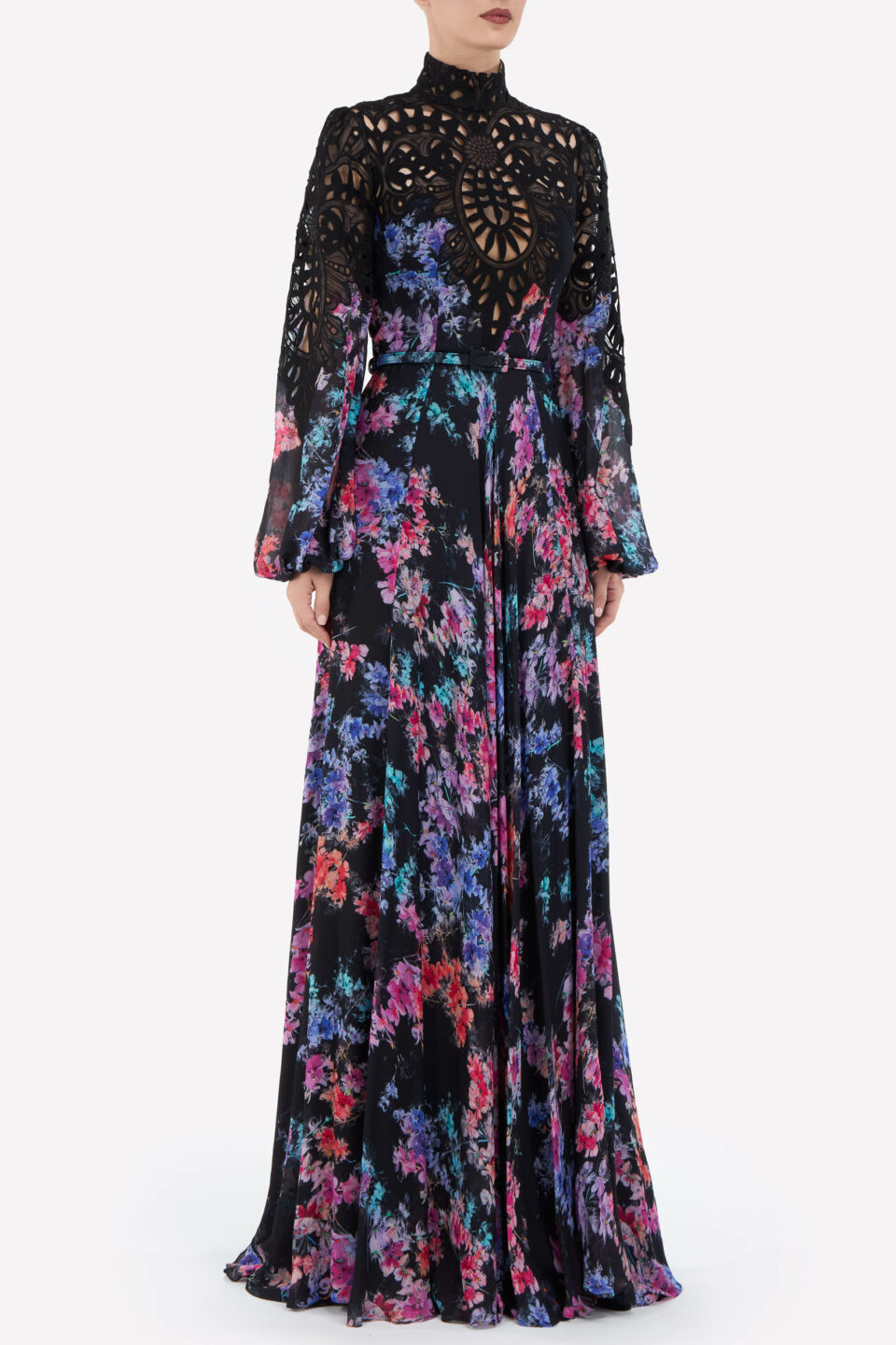 Isabella FW2121 Black Floral-Printed Chiffon Gown with Embroidered Lace Appliques & Coordinating Belt