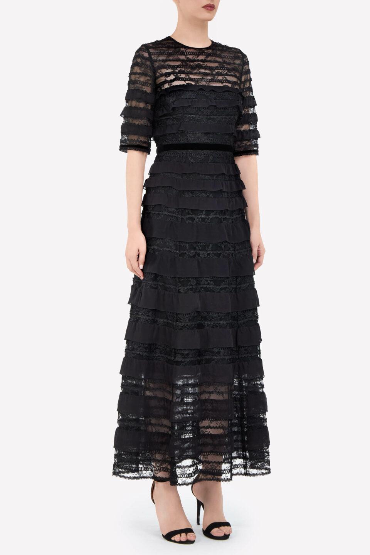 Maxine PR2175 Black Chantilly Lace A-Line Dress with Tonal Chiffon Ruffles