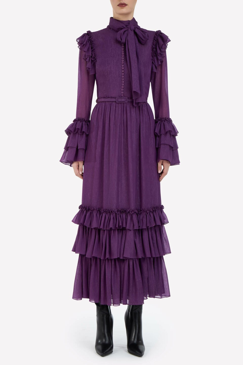 Natalie FW2132 Purple Lurex Crinkle Chiffon Tiered PussybowDress with Buttons, Ruffle Details & Coordinating Belt