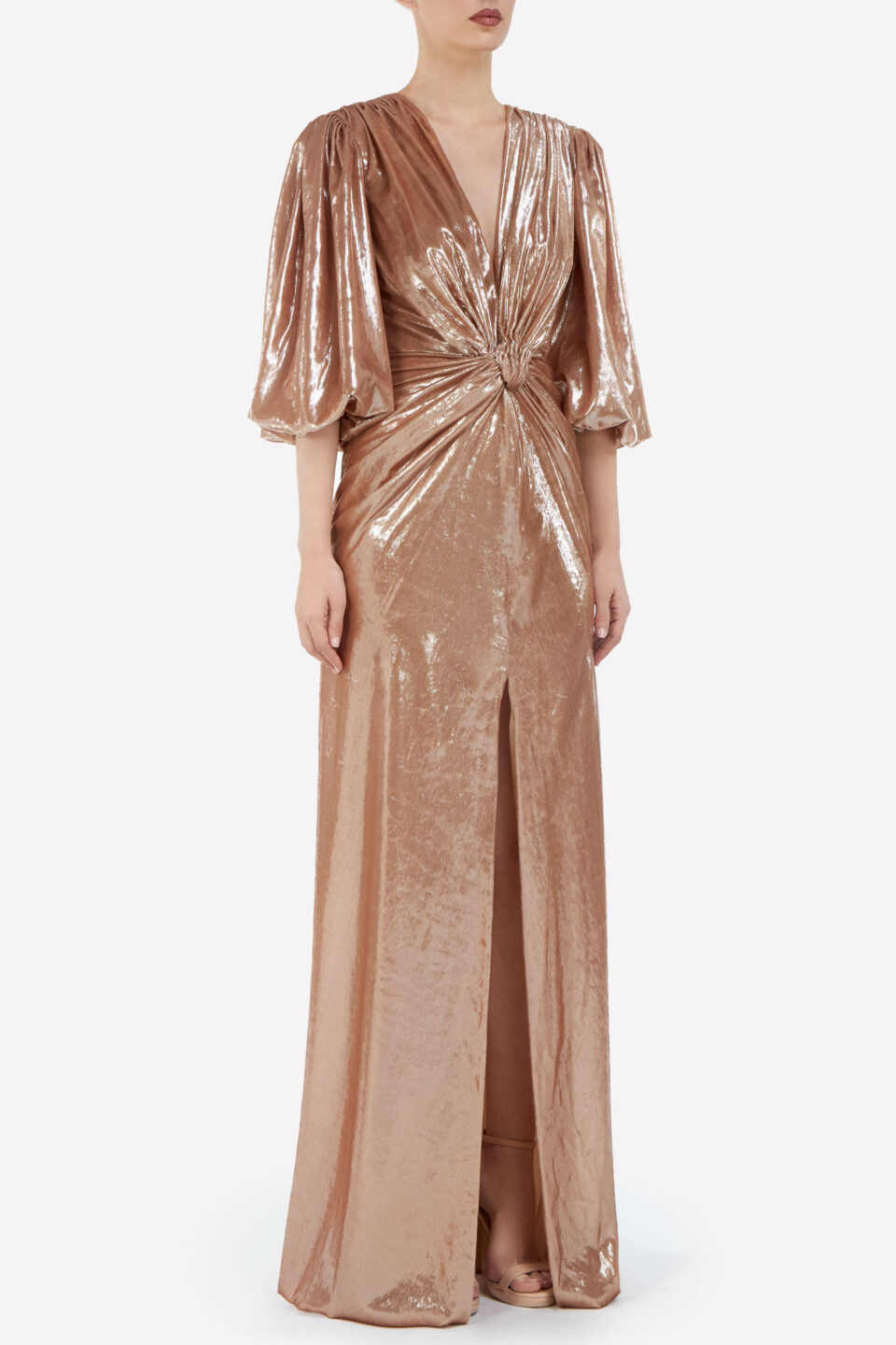 Valentina FW2140 Lurex Velvet Twisted Knot Gown with Frontal Split