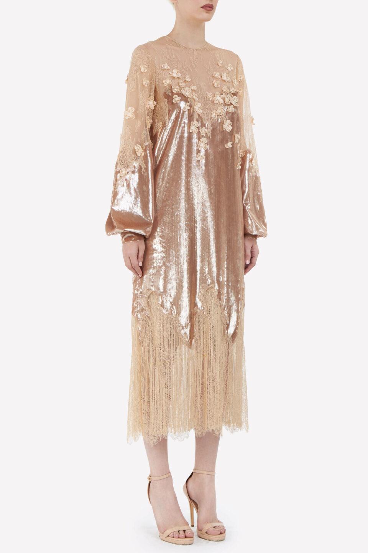 Valentina FW2141 Gold Lurex Velvet Midi Shift Dress with Chantilly Lace & Flower Appliques
