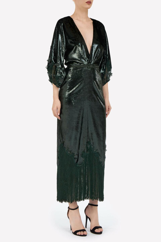 Valentina FW2143 Green Lurex Velvet Blouson Midi Dress with Chantilly Lace & Fringe Hem & Coordinating Belt
