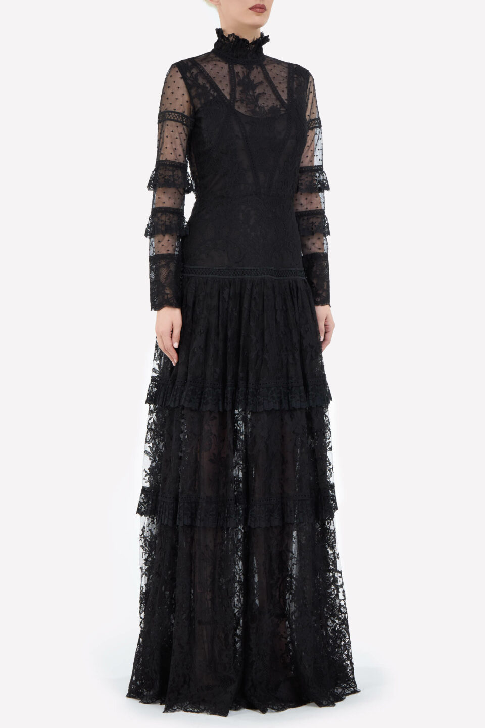 Anastasia FW2150 Black Dotted French Tulle & French Lace Dropped-Waist Gown with High Neckline