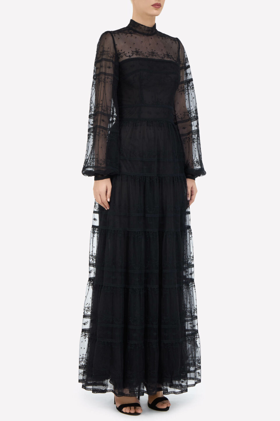 Scarlett FW2161 Black Embroidered French Tulle Mock-Neck Dress with Balloon Sleeves
