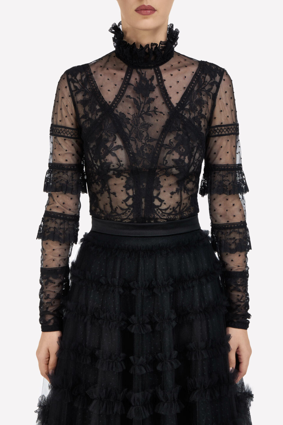 Anastasia FW2153 Black Dotted French Tulle & French Lace Bodysuit with Ruffle Details / Anastasia FW2155 Black French Tulle Evening Skirt with Double-Edged Ruffles
