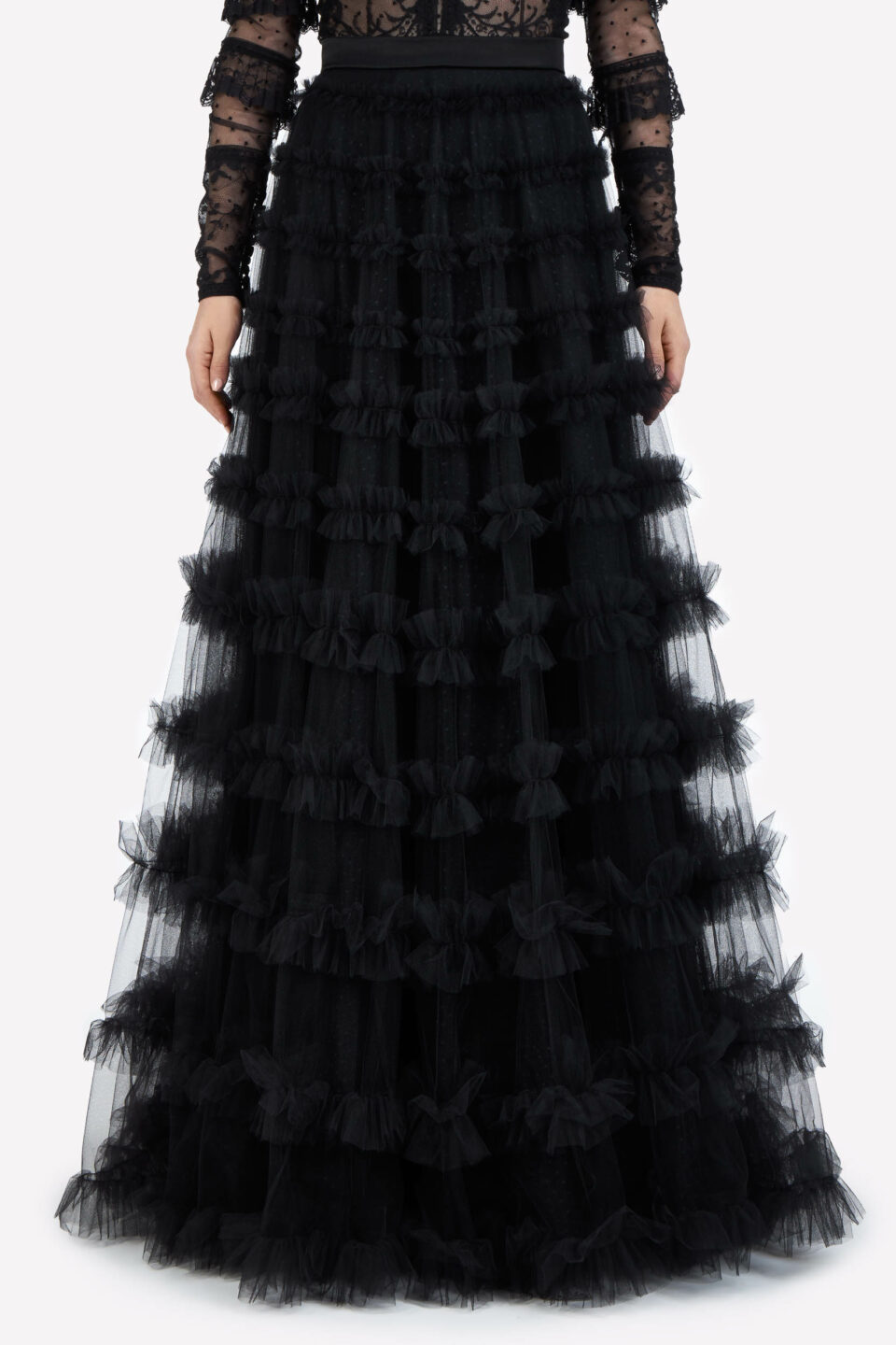 Anastasia FW2155 Black French Tulle Evening Skirt with Double-Edged Ruffles