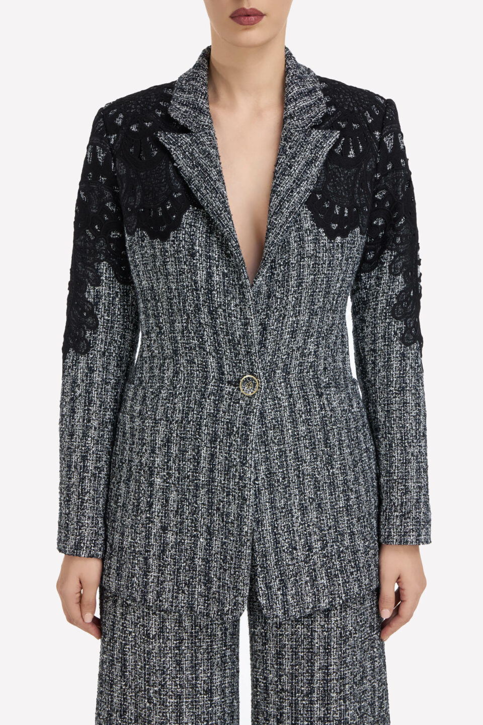 Addison FW2170 Grey Cotton-Blend Tweed Blazer with Embroidered Lace Applique & Notch Lapel