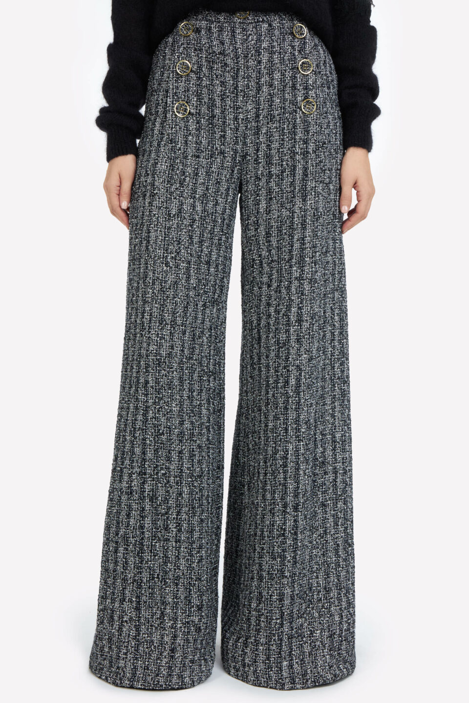 Addison FW2171 Grey Cotton-Blend Tweed Trousers with Button Detail