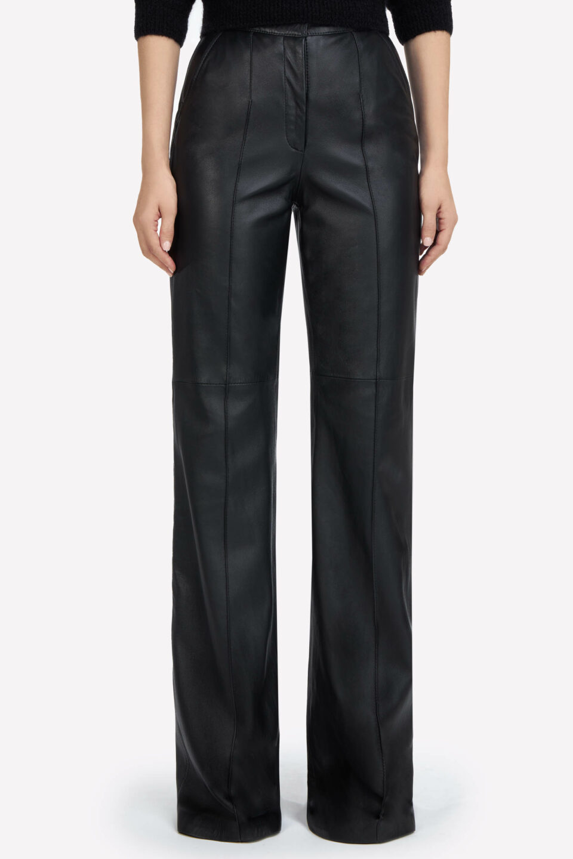 Denie FW2190 Black Soft Lamb-Skin Leather Trousers