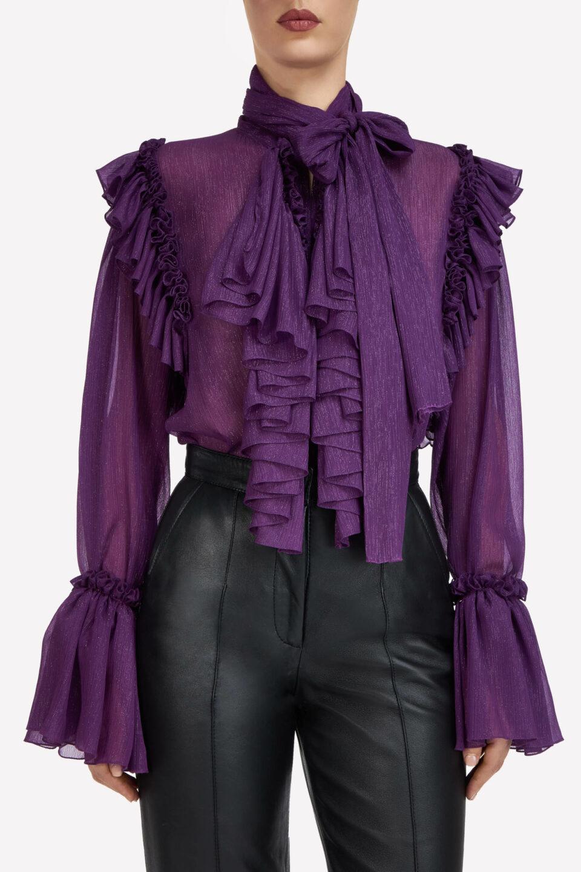 Natalie FW2130 Purple Lurex Crinkle Chiffon Ruffled Pussybow Blouse with Poet Sleeves & Keyhole Neckline