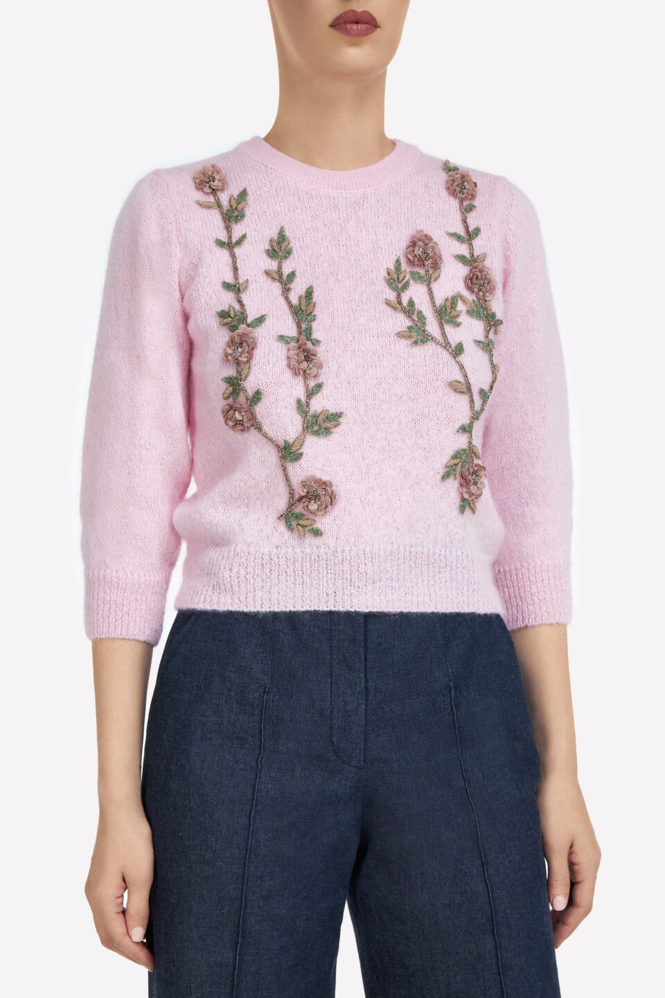 Olivia FW2183 Pink Beaded Flower Appliques