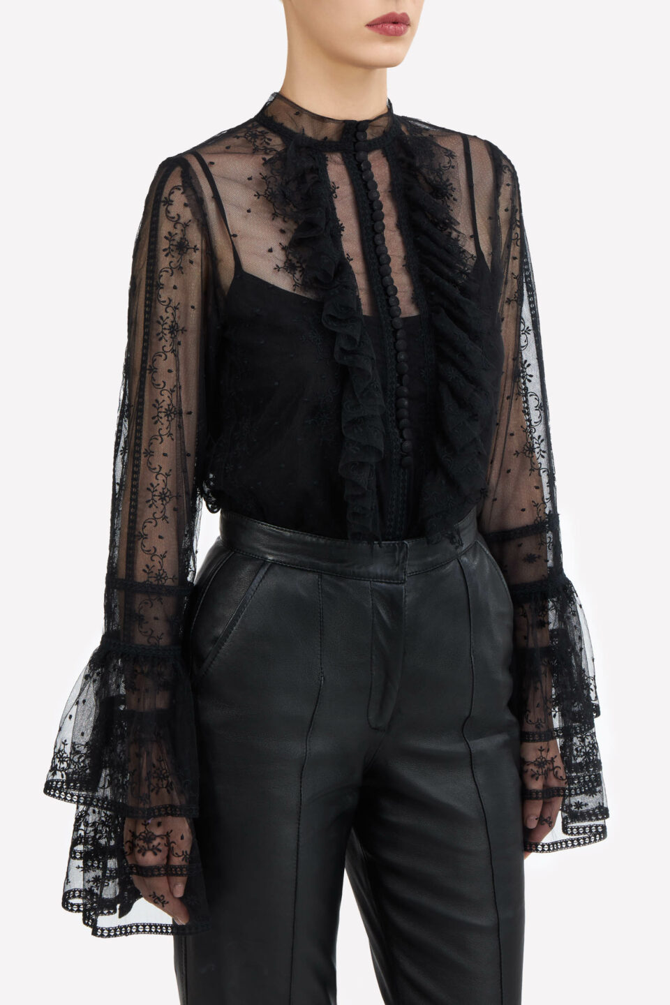 Scarlett FW2163 Black Embroidered French Tulle Buttoned Blouse with Layered Fluted Sleeves / Denie FW2190 Black Soft Lamb-Skin Leather Wide-Leg Pants with Pintuck Seams