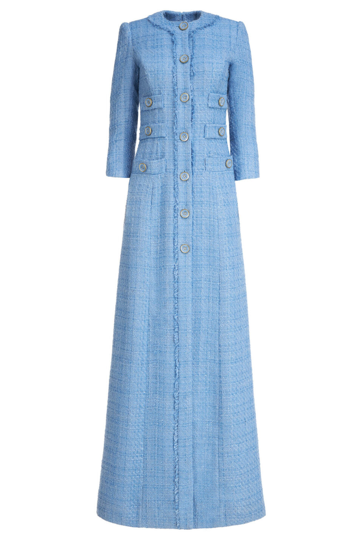 Emilia FW2111 Blue Tweed Button-Front Column Gown with Frayed Edges, Lurex Detail