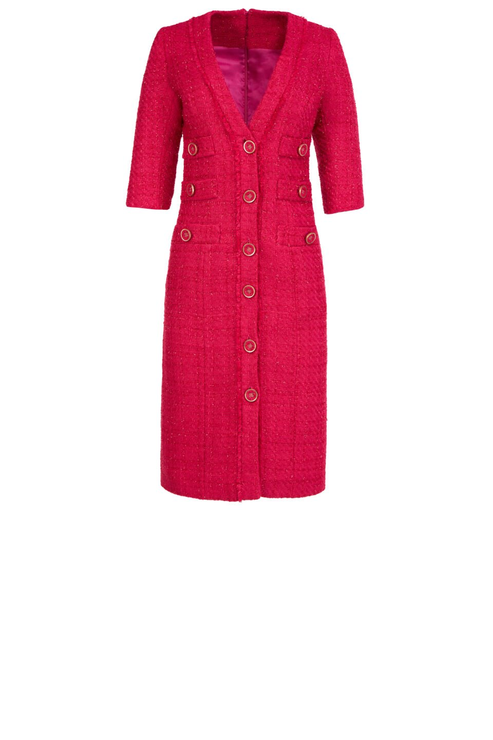 Emilia FW2112 Pink Tweed Button-Front Pencil Dress with Lurex Detail