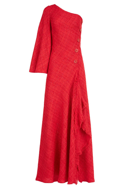 Emilia FW2114 Red Tweed Bias-Cut One-Shoulder Gown with Button & Lurex Details