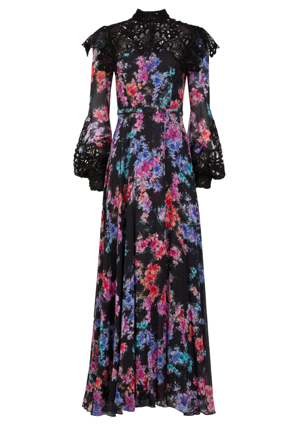 Isabella FW2120 Black Floral-Printed Chiffon Dress with Embroidered Lace Appliques, Side Slit & Coordinating Belt